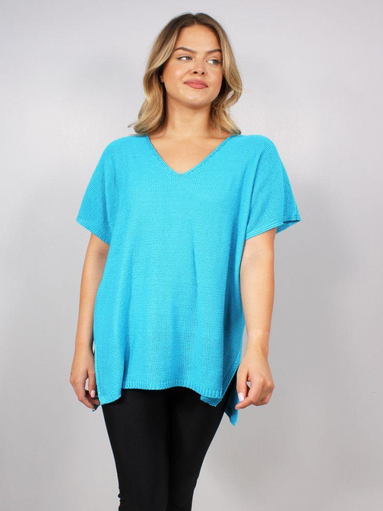 Mat Short Sleeved V-Neck Sweater Turquoise