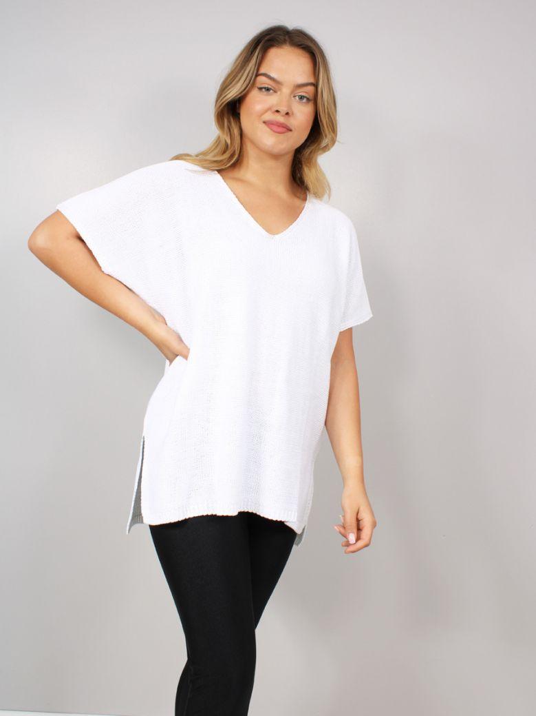 Mat Short Sleeved V-Neck Sweater White