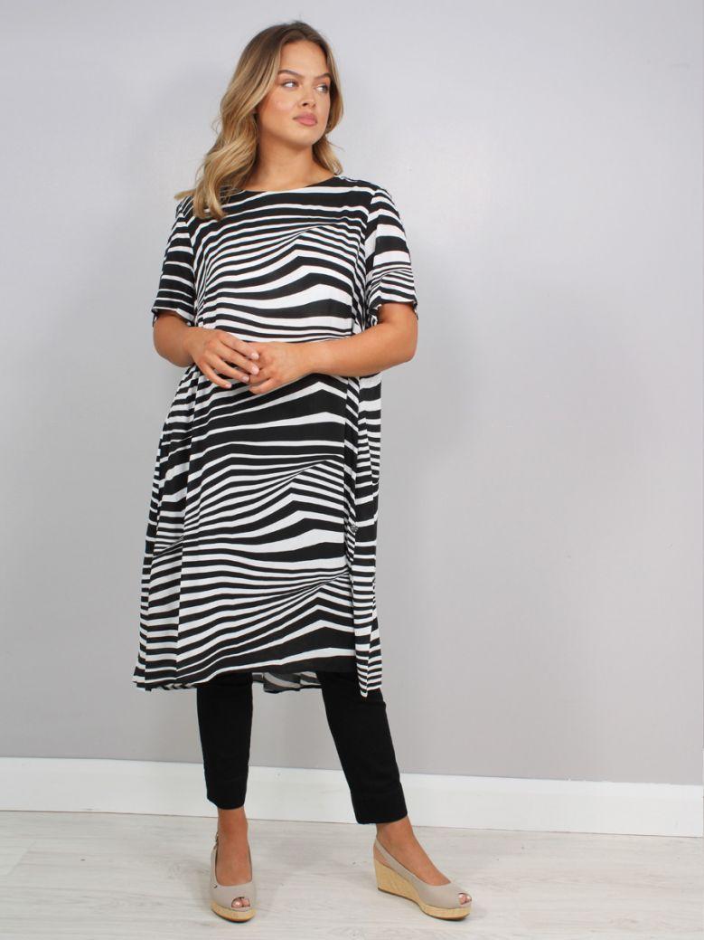 Mat Striped Midi Dress Black