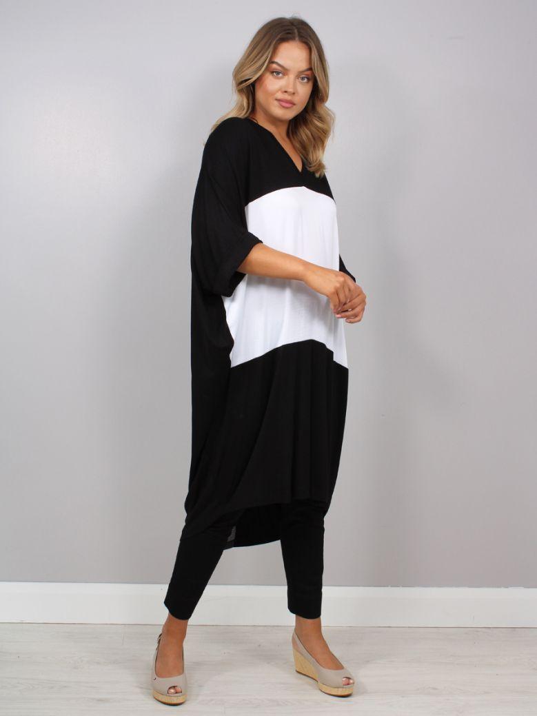 Mat V-Neck Dress Black