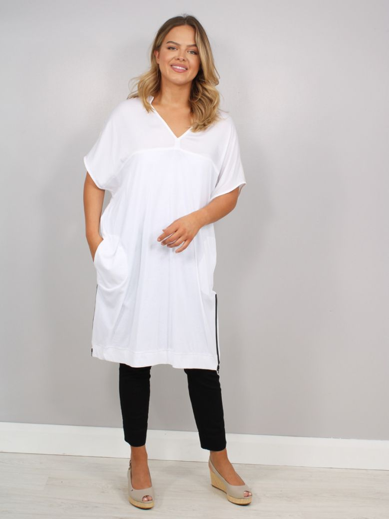 Mat V-Neck Dress White