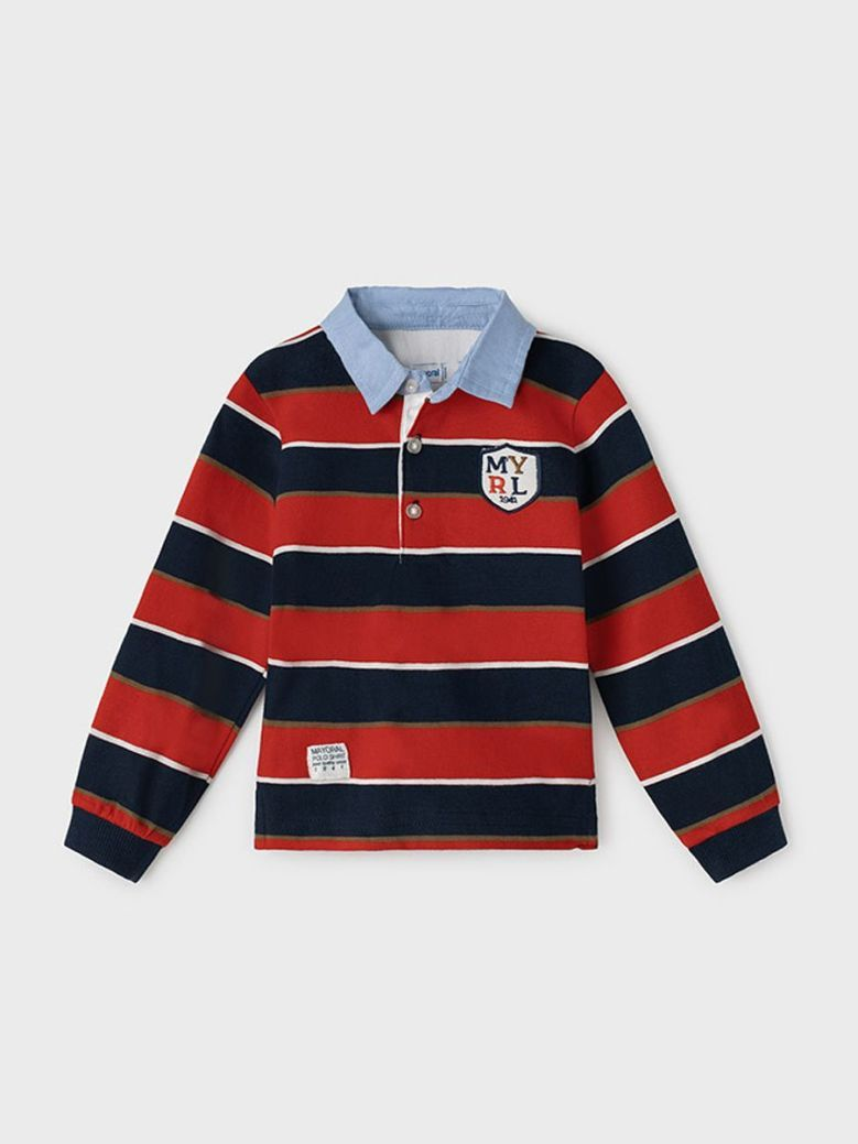Mayoral Long Sleeve Striped Polo Red