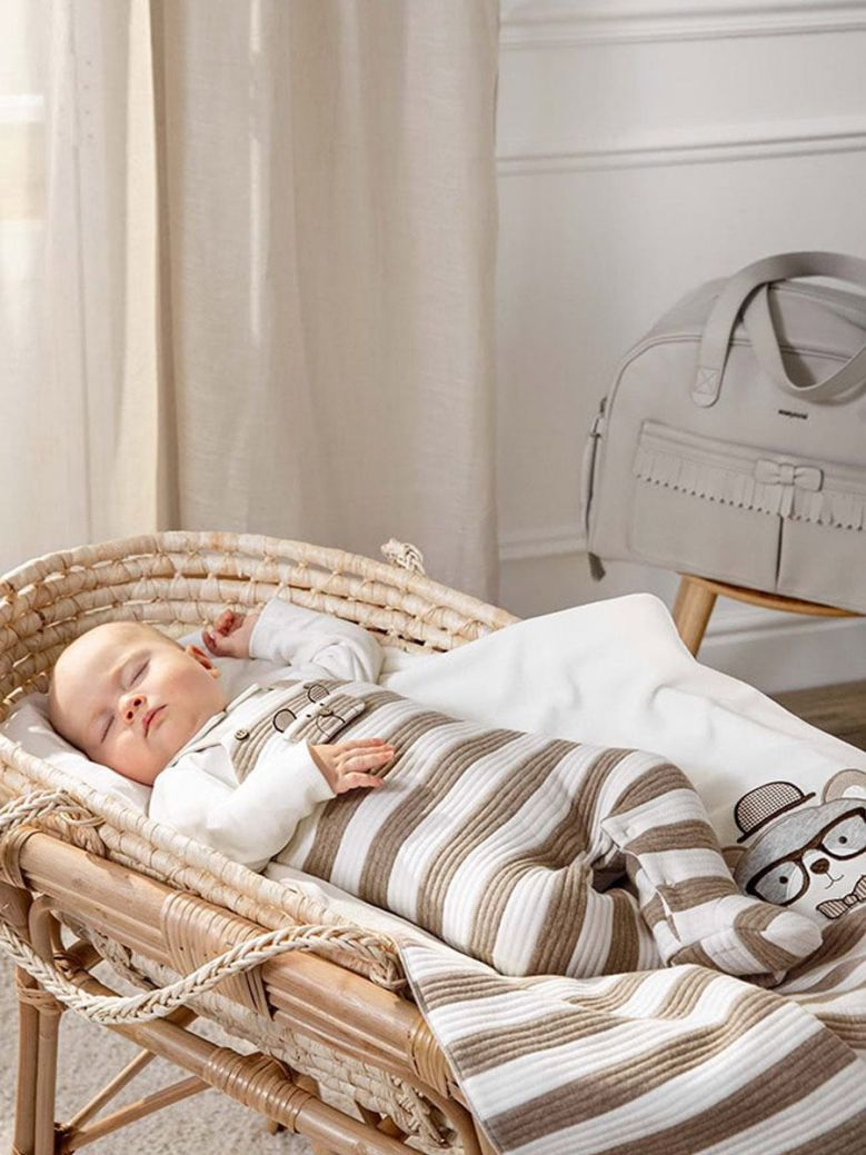 Mayoral Striped Padded Dungarees Natural
