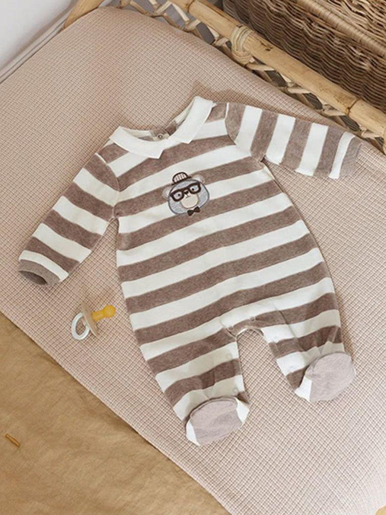 Mayoral Striped Sleepsuit Brown