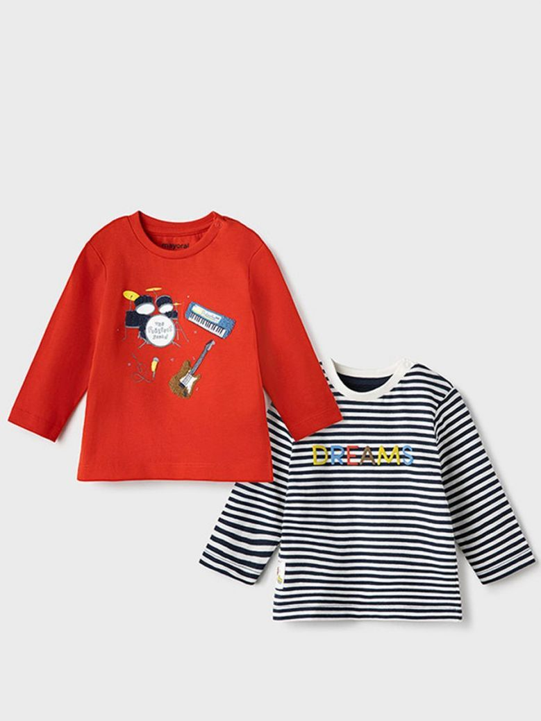 Mayoral 'Dreams' 2 Pack Long Sleeve T-Shirt Red
