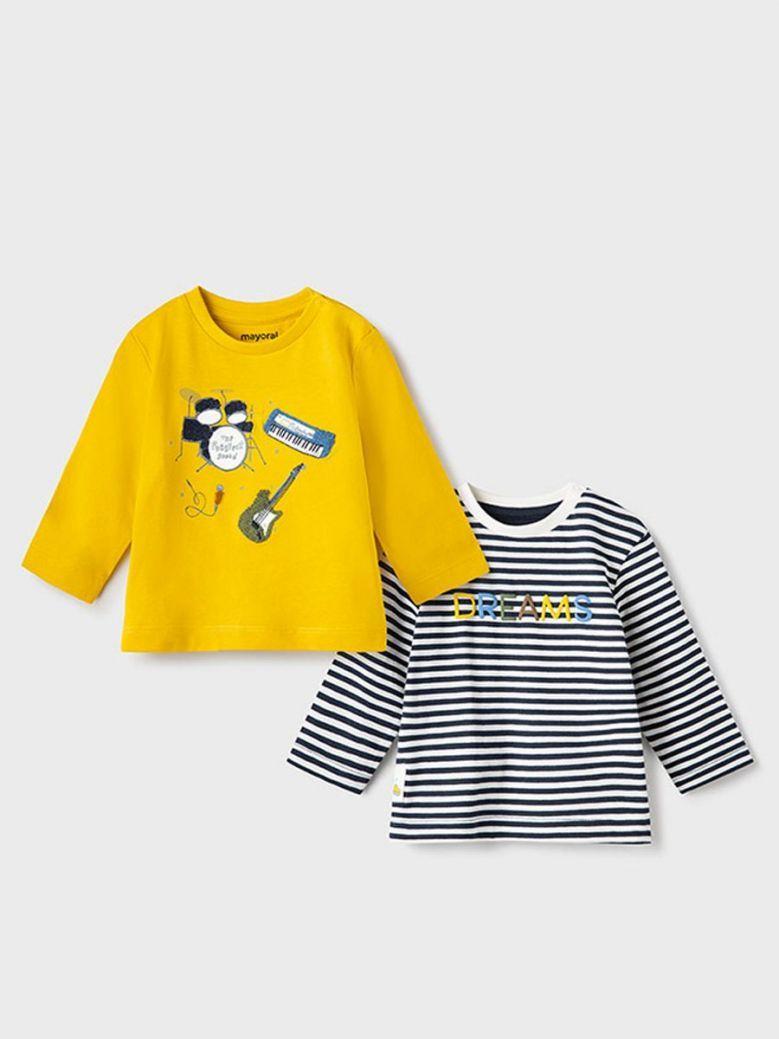 Mayoral 'Dreams' 2 Pack Long Sleeve T-Shirt Yellow