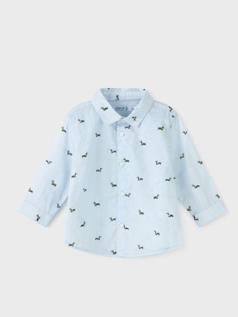 Mayoral Baby Boy Dachshund Print Shirt Blue