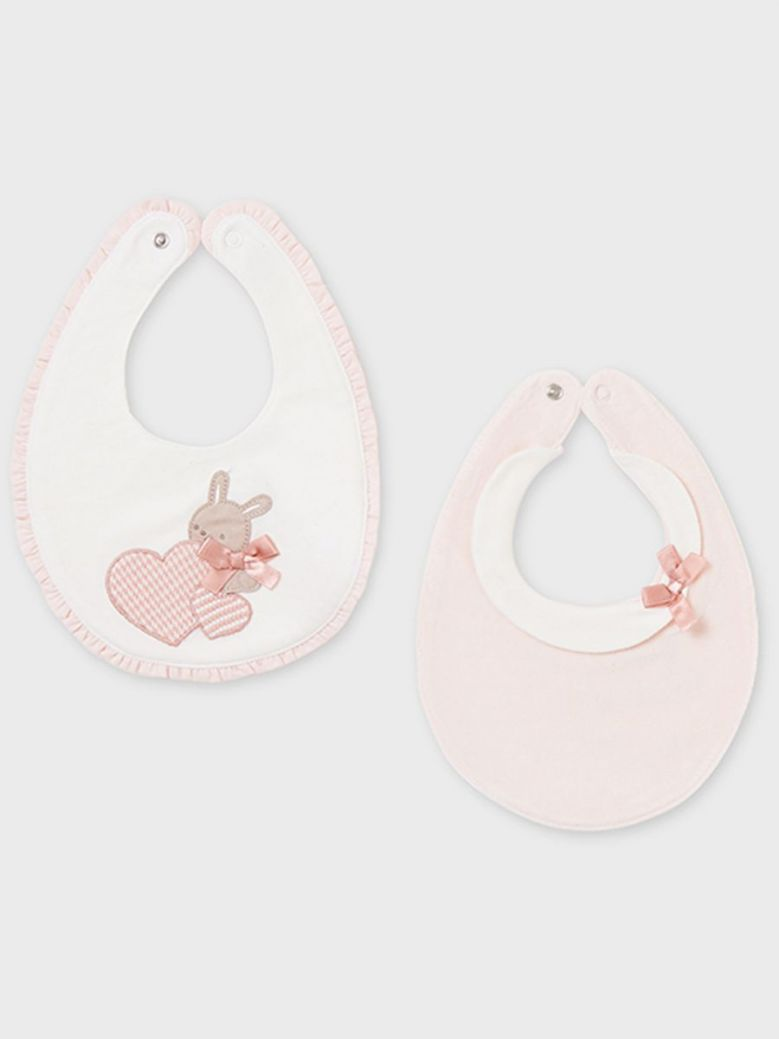 Mayoral Baby Girl Bunny Applique Bibs 2 Pack Pink