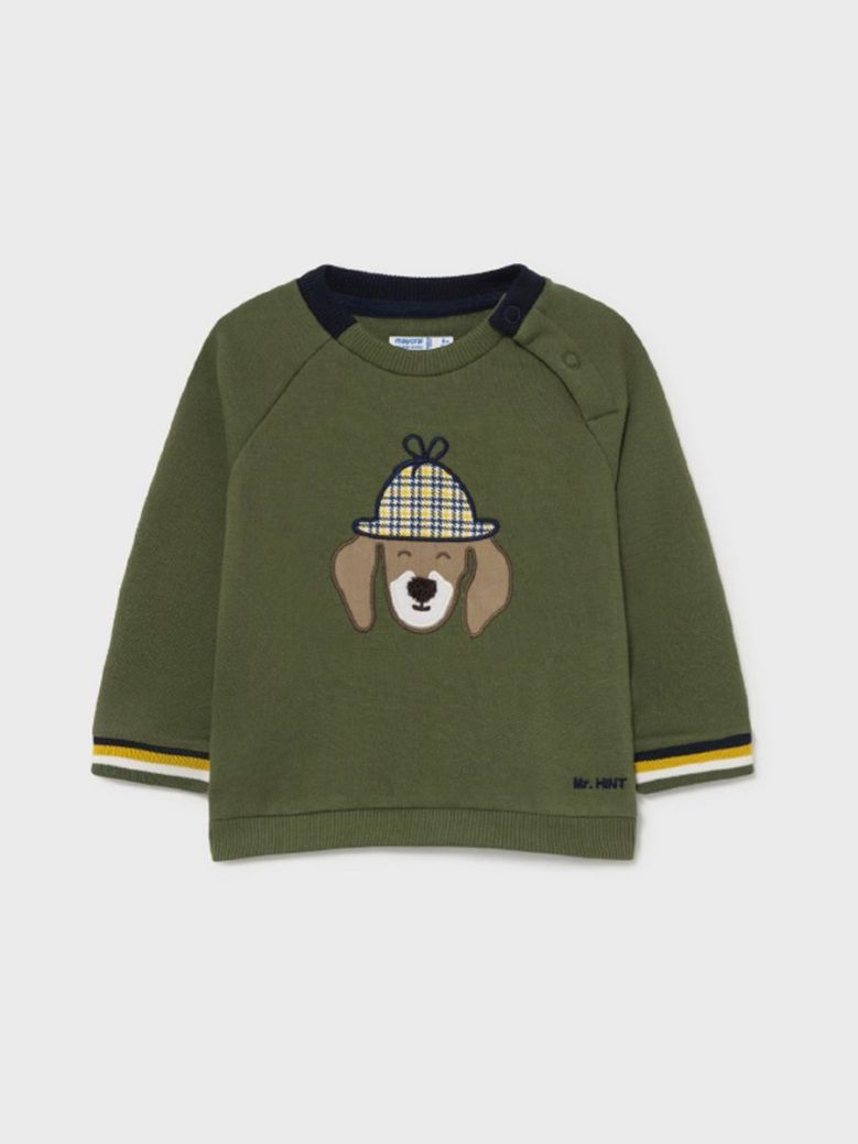 Mayoral Dog Applique Sweater Green