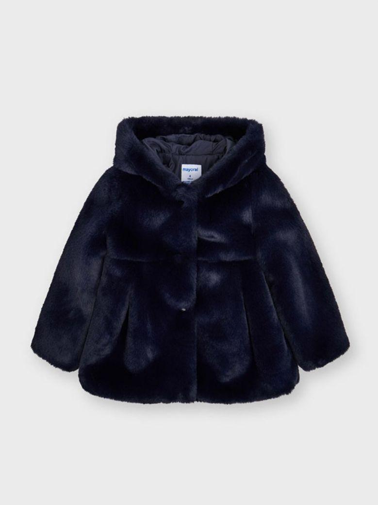 Mayoral Fur Coat For Girl Navy