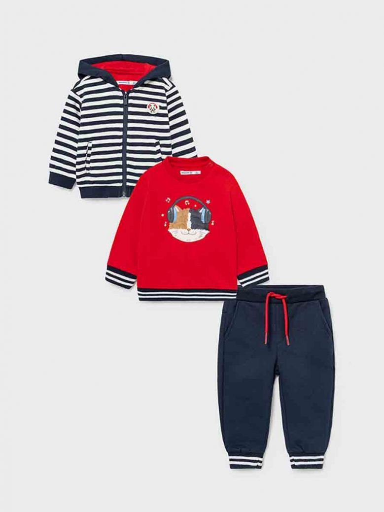 Mayoral Hoodie, Trousers and Jumper Set For Boy Red