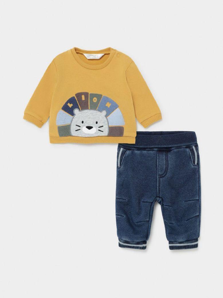 Mayoral Lion Jumper and Jeans Set Mustard