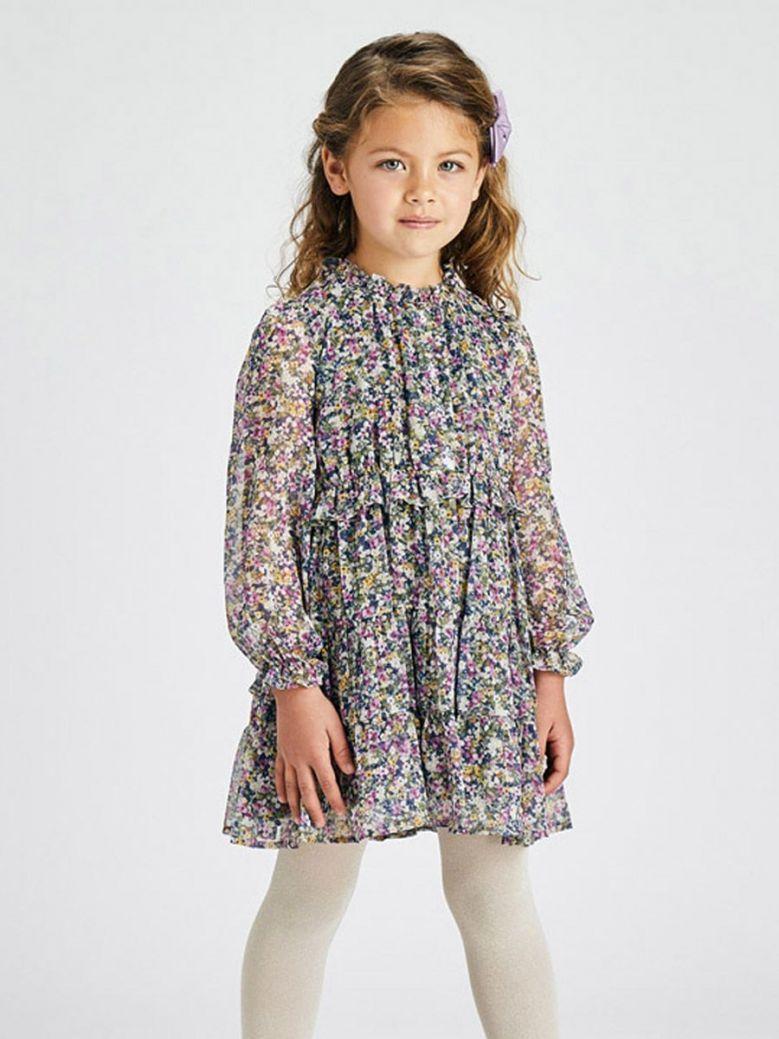 Mayoral Long Sleeve Floral Dress Purple