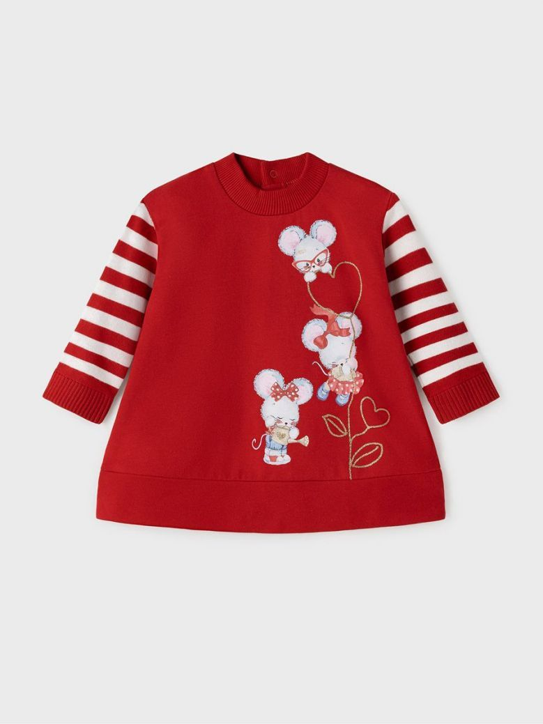 Mayoral Mouse Applique Dress Red
