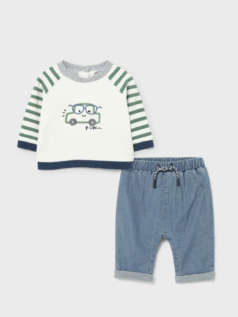 Mayoral Newborn Car Applique T-Shirt & Jeans Set Eucalyptus
