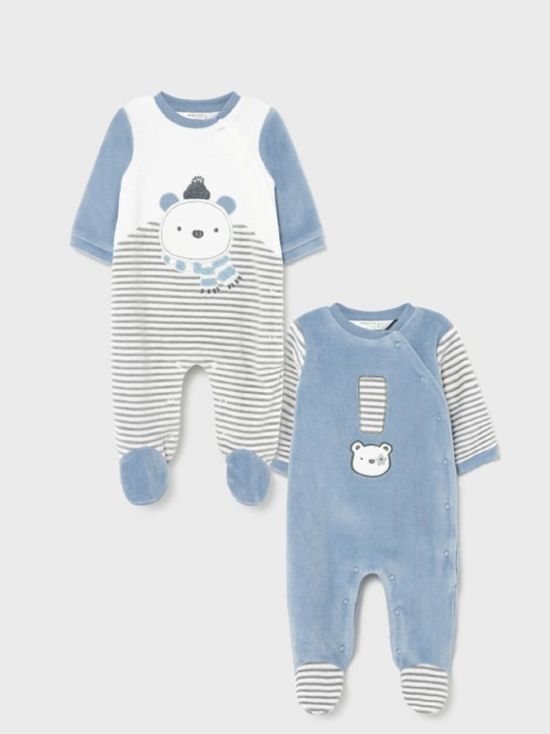 Mayoral Newborn Little Bear 2 Pack Pyjama Set Blue