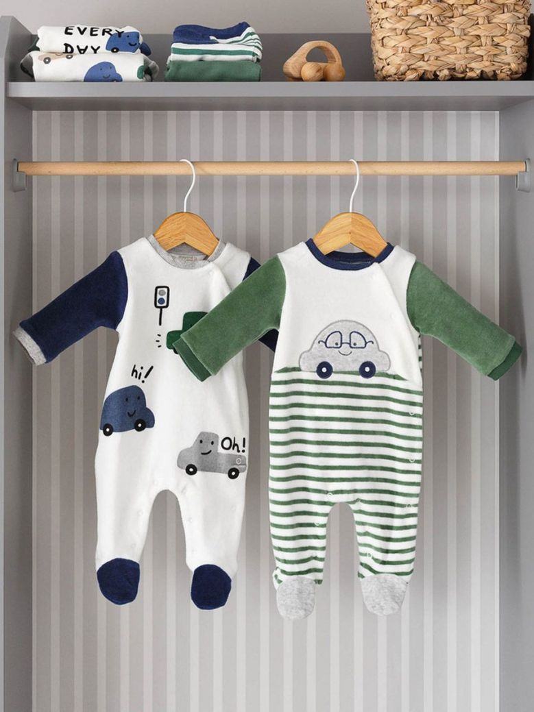 Mayoral Set of Two Little Car Sleepsuits White