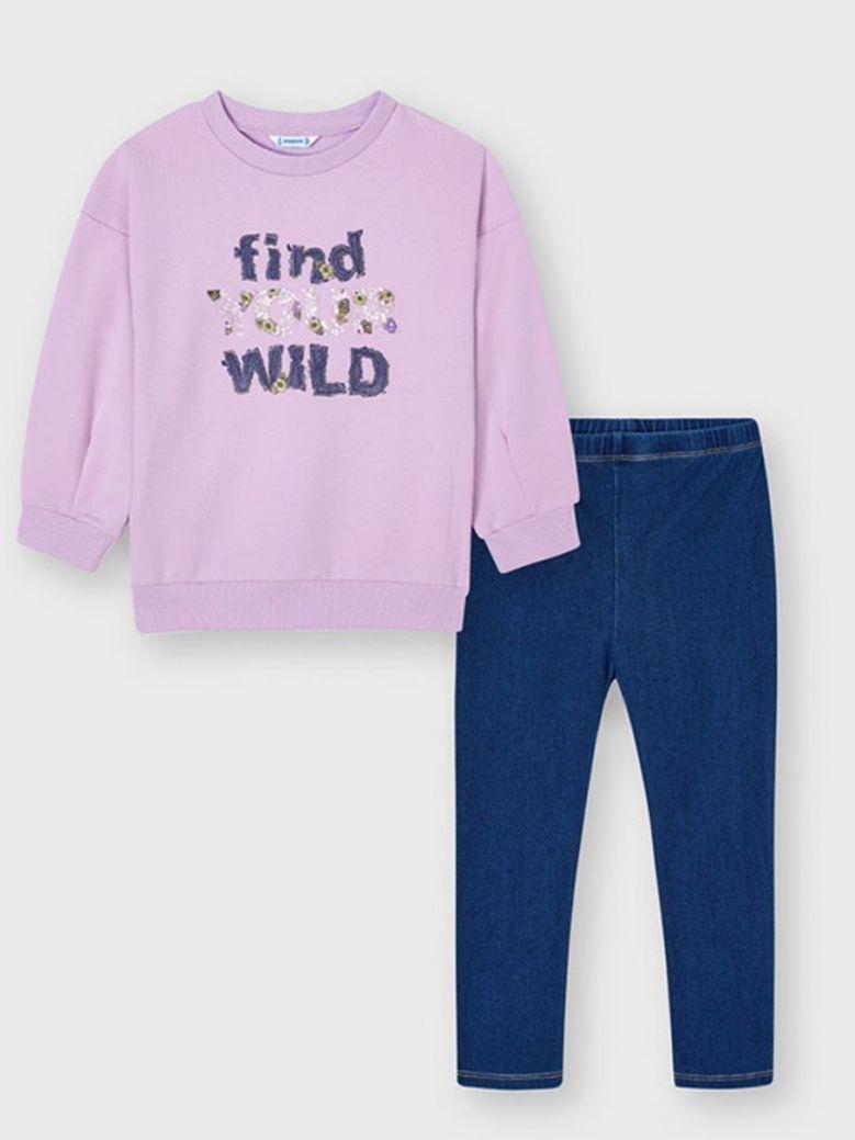 Mayoral Floral Slogan Sweater & Jeggings Set Lilac