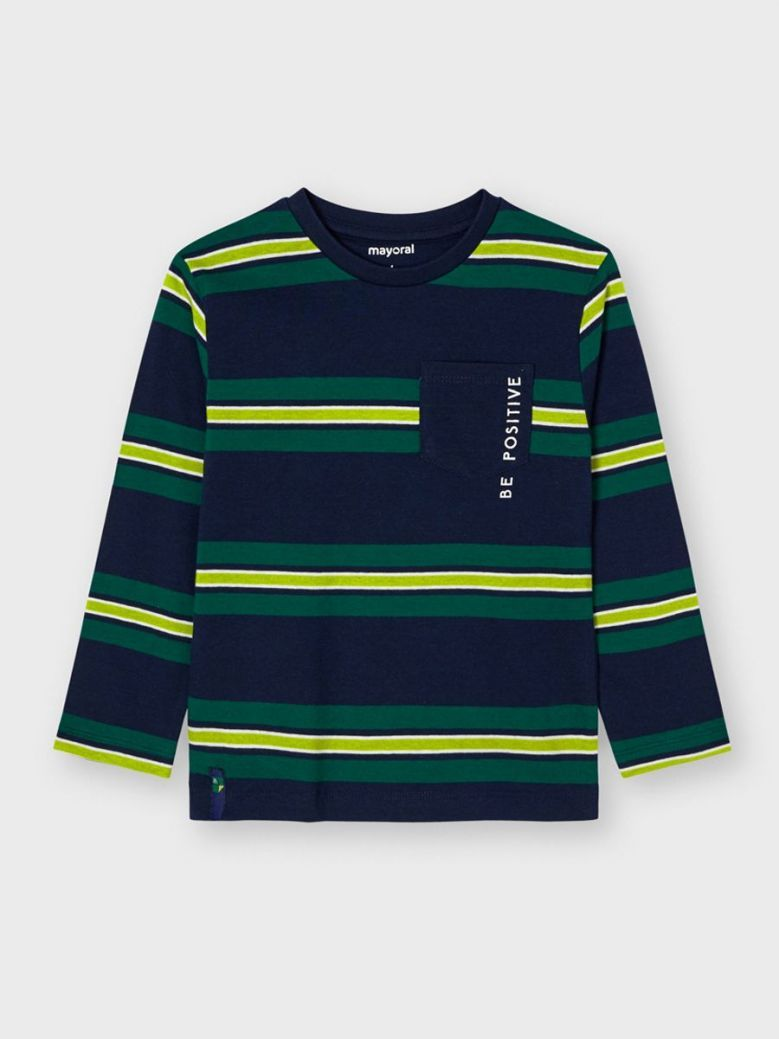 Mayoral Striped Long Sleeve T-Shirt Navy