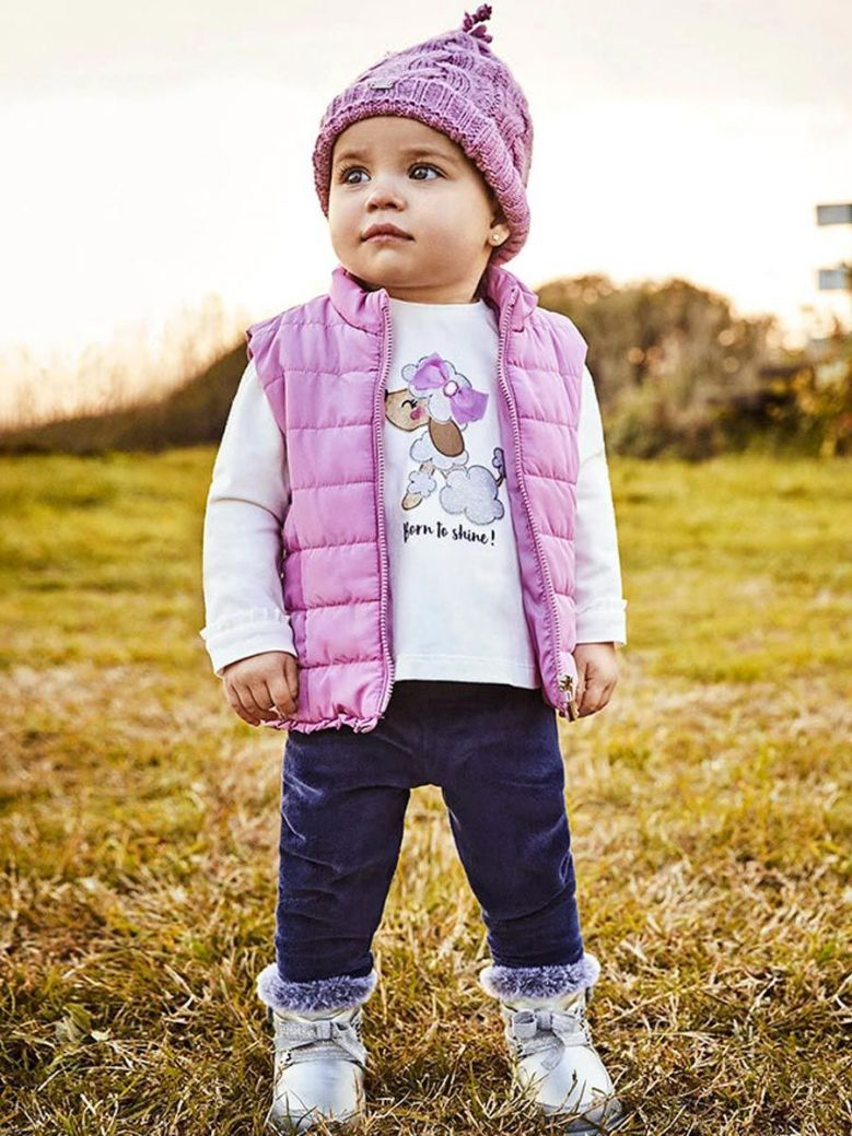 Mayoral Three Piece Set For Baby Girl Mauve