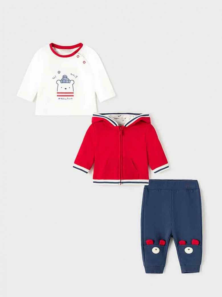 Mayoral Three Piece Tracksuit For Newborn Baby Red