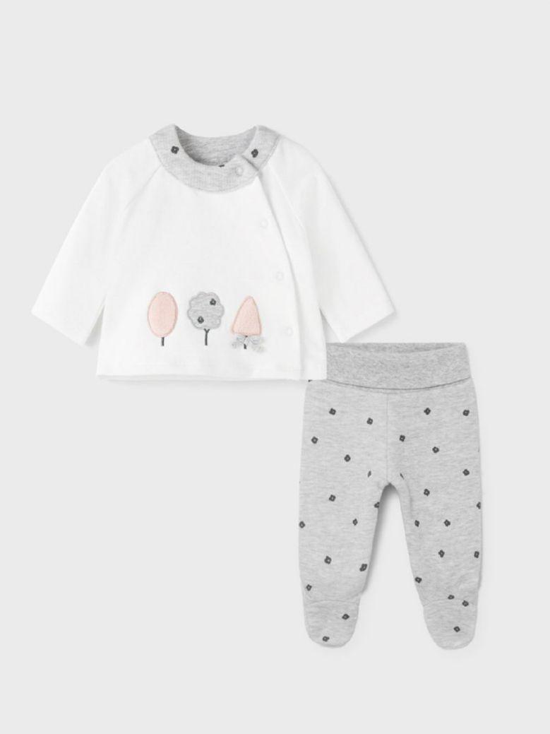 Mayoral Two Piece Set For Newborn Girl Grey