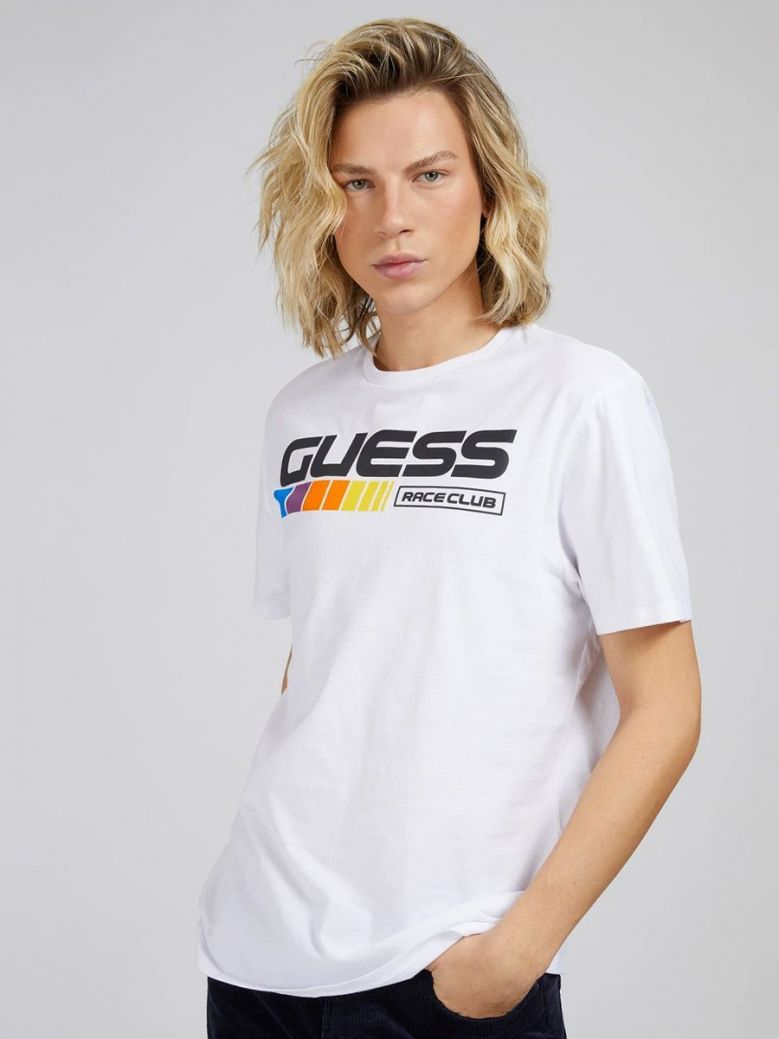 Guess Club Front Logo T-Shirt White