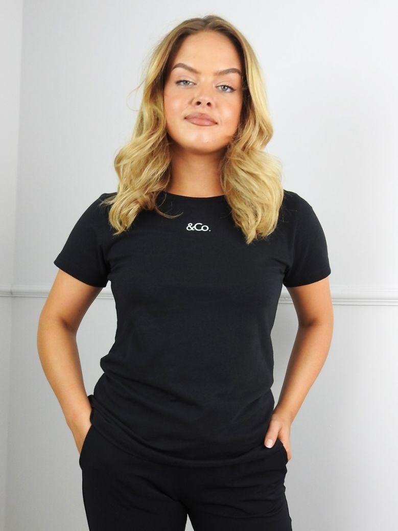 &Co Black Minimal Logo T-Shirt