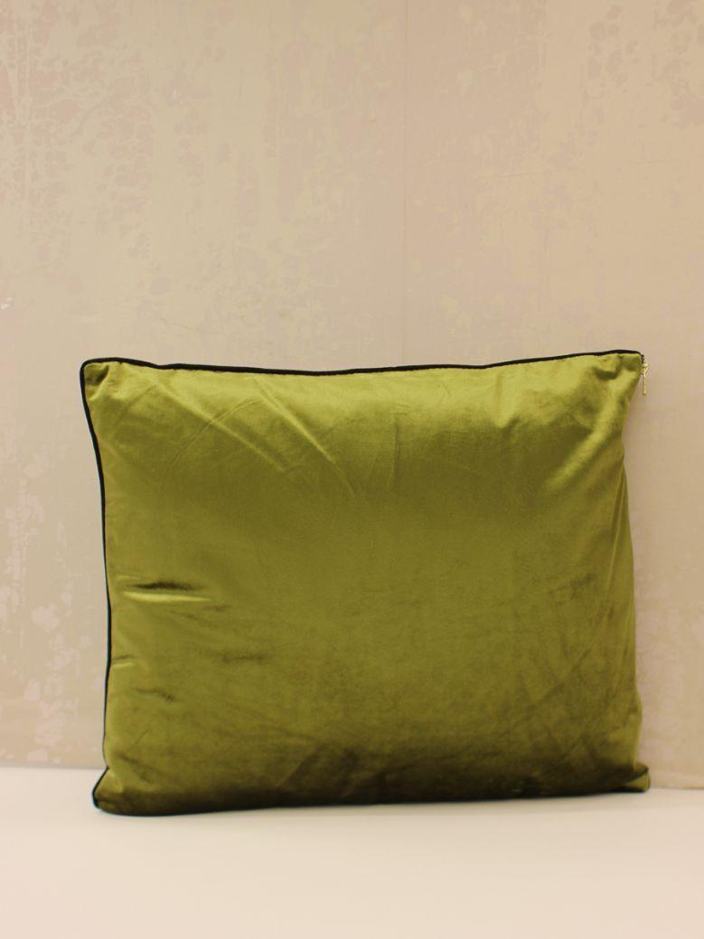 Lime Green Velvet Cushion With Zip Detail