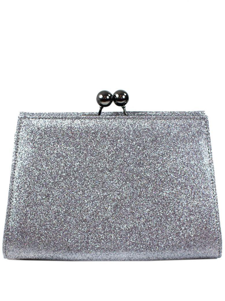 Mascara Silver Glitter Clutch Bag