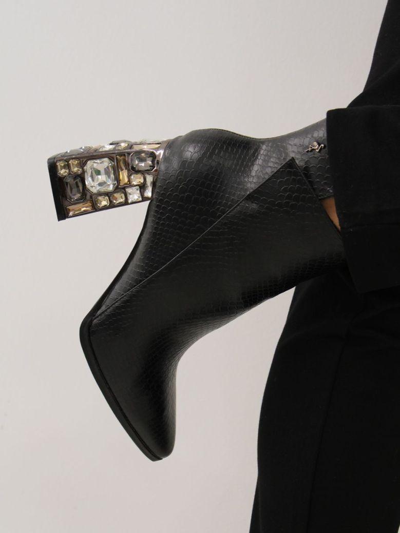 Menbur Jewelled Heel Boot Black