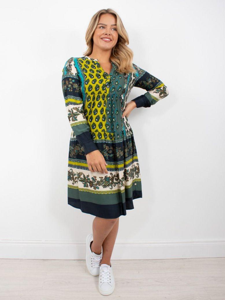 Milano Flounce Hem Dress Green Multi