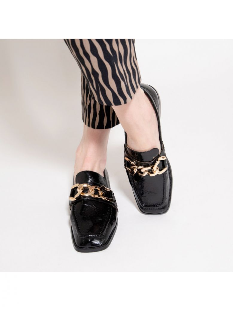Vanessa Wu Black Loafers with Gold Chain