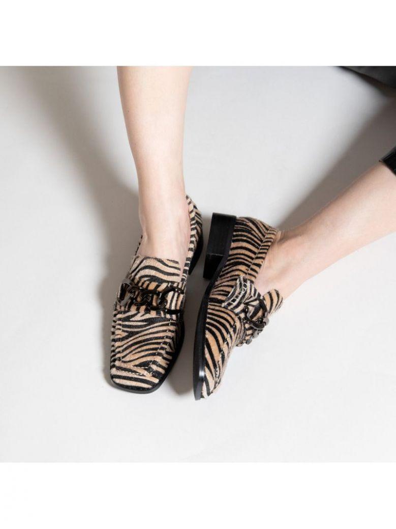 Vanessa Wu Zebra Loafers with Charcoal Chain