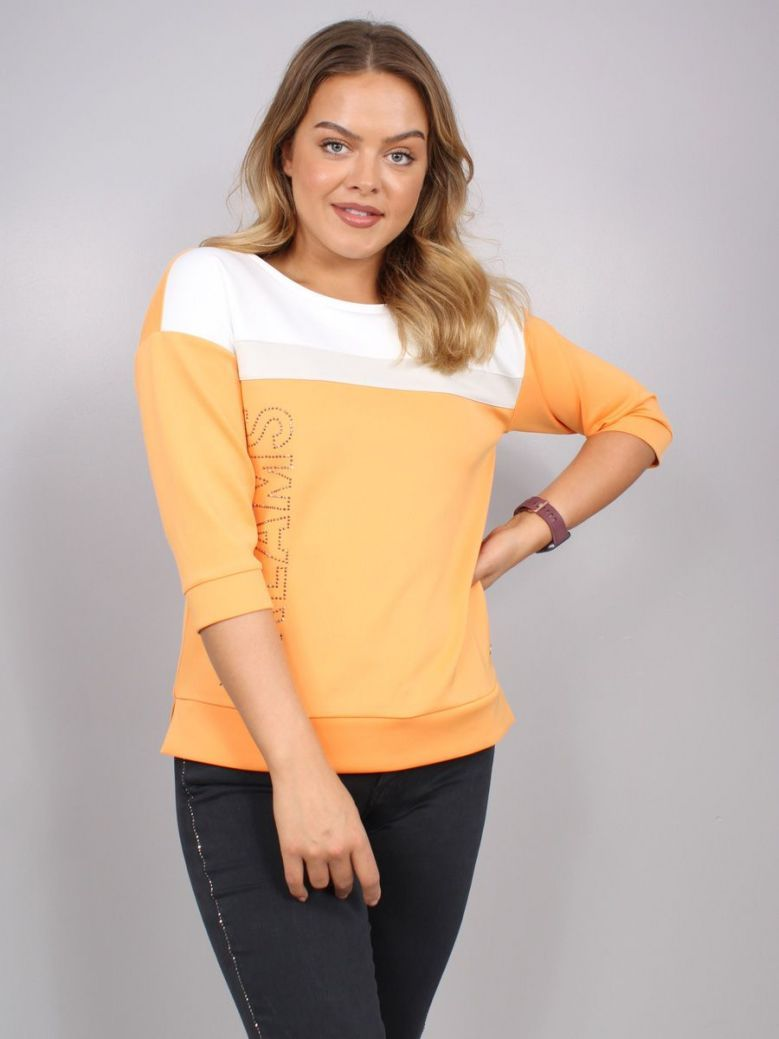 Monari Colour-Blocked Sweatshirt Orange