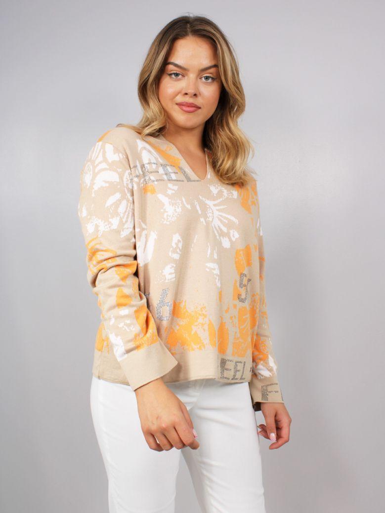 Monari Jacquard Knitted Sweater with Hood Beige