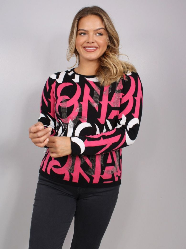 Monari Jacquard Sweater with Rhinestones Black and Pink