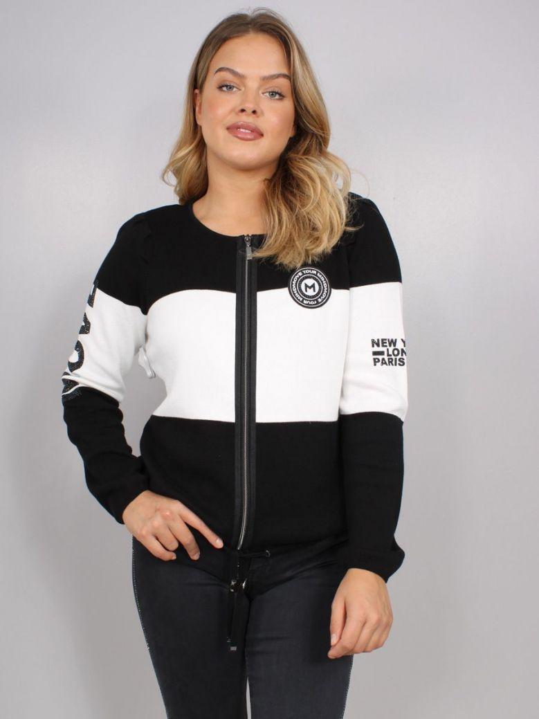 Monari Knit Zip Up Jacket Black and White