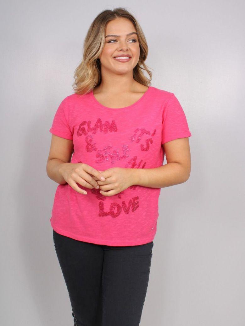 Monari Letter Print T-Shirt Pink Flame