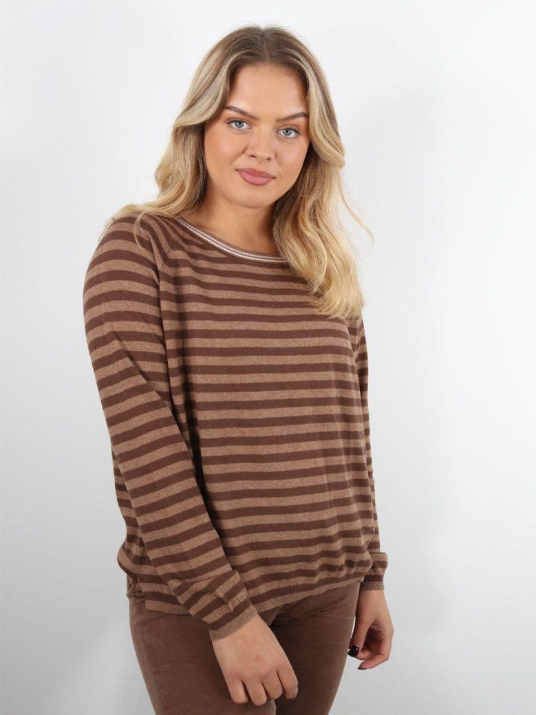 Mos Mosh Wyn Stripe Knit Top Brown