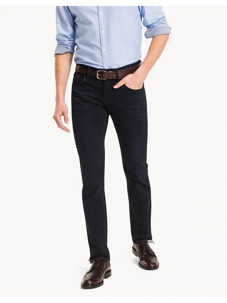 Tommy Hilfiger Blue Black Denton Straight Fit Stretch Jeans