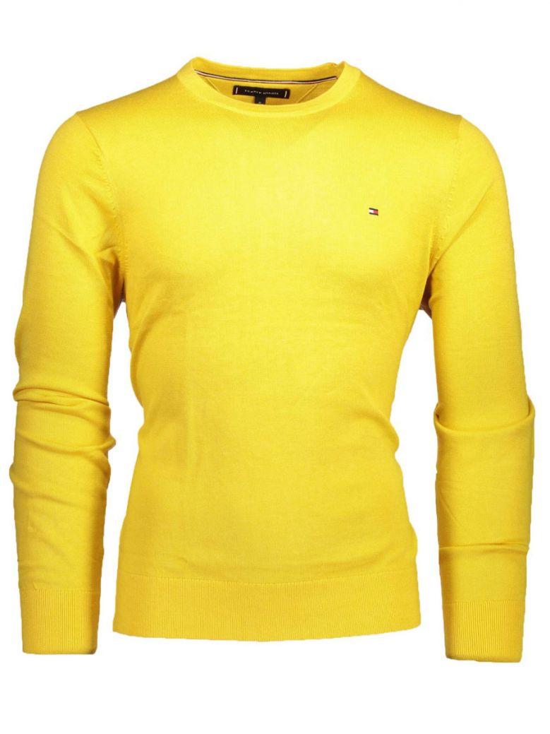 Tommy Hilfiger Empire Yellow Cotton Silk Crew Neck Jumper