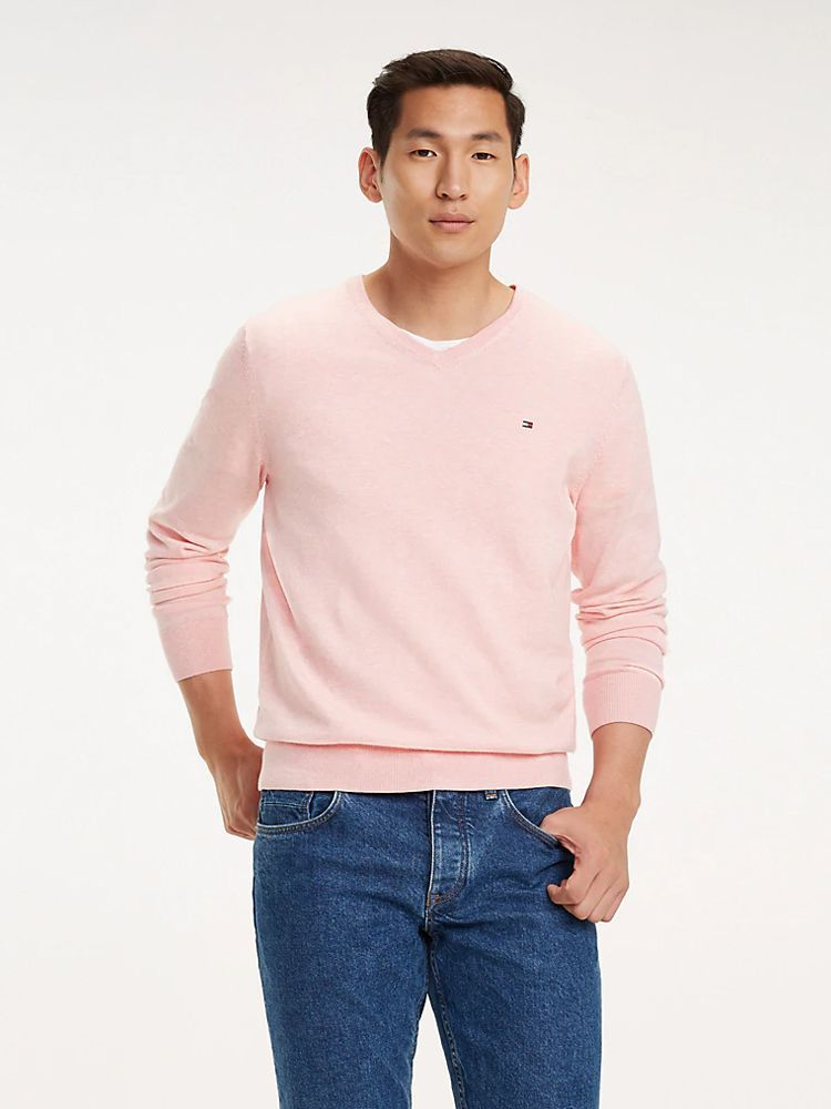Tommy Hilfiger Light Pink Cotton-Silk V-Neck Jumper