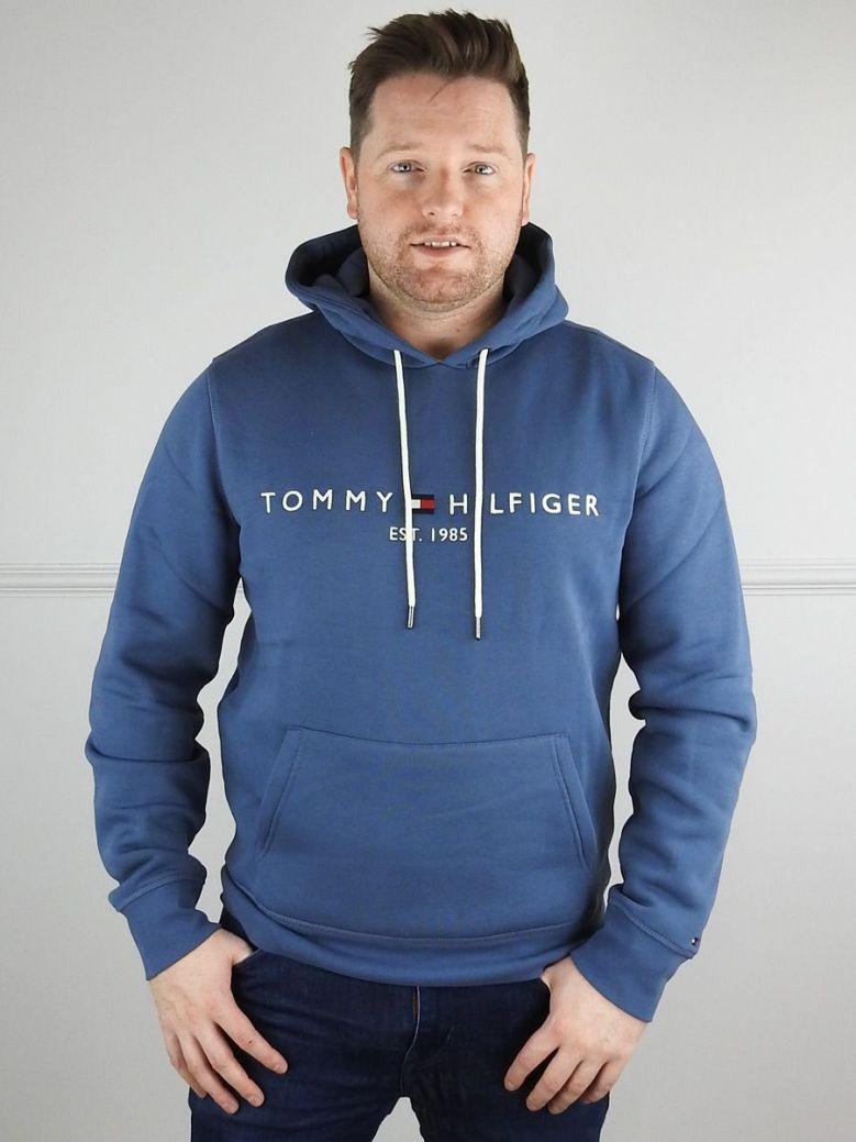 Tommy Hilfiger Mens Faded Indigo Logo Drawstring Hoody