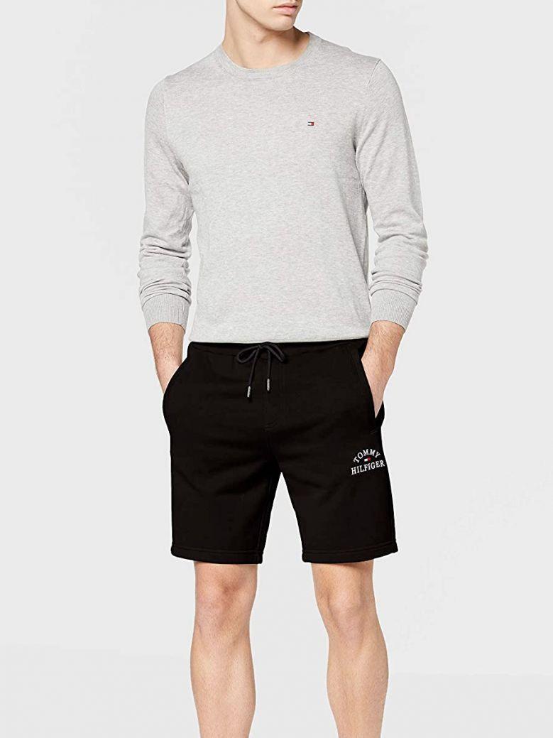 Tommy Hilfiger Mens Black Cotton Terry Logo Shorts
