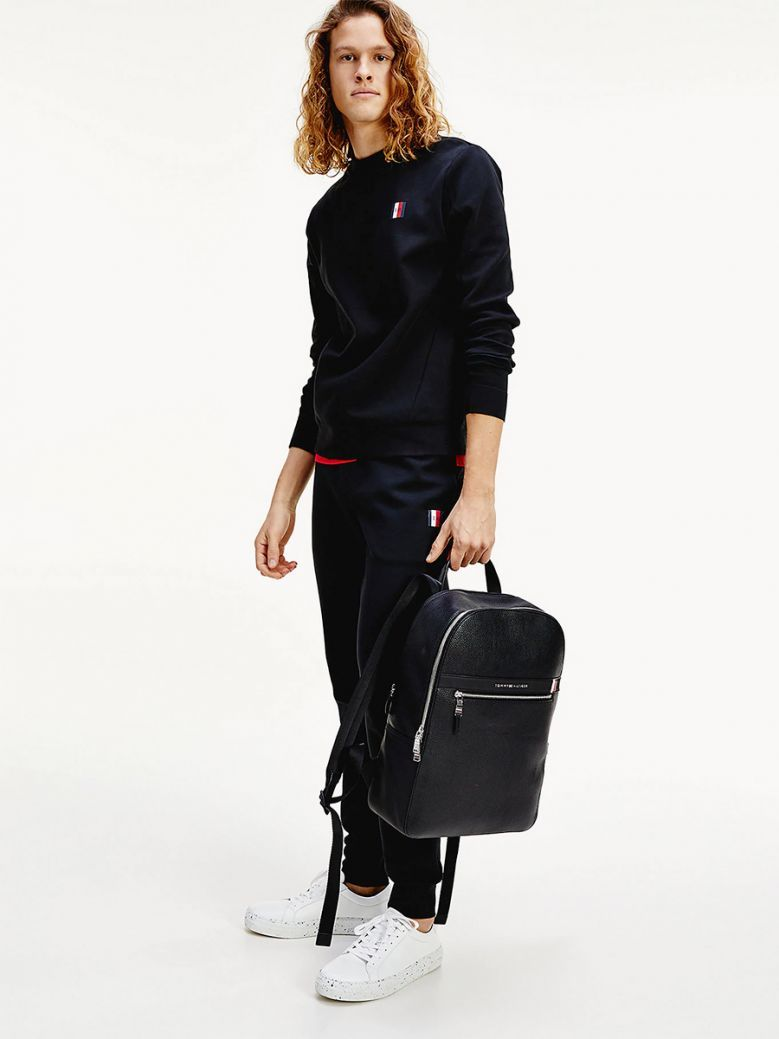 Tommy Hilfiger Mens Black Essential Crew Neck Sweatshirt
