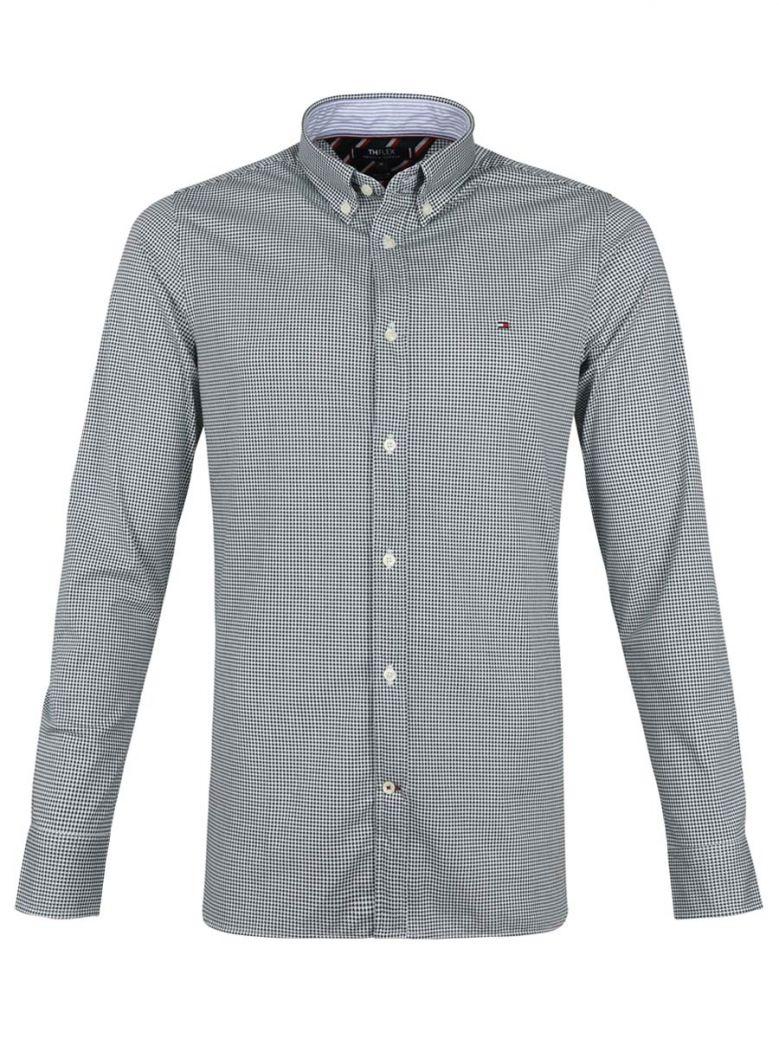 Tommy Hilfiger Mens Green Micro Print Slim Flex Weave Shirt