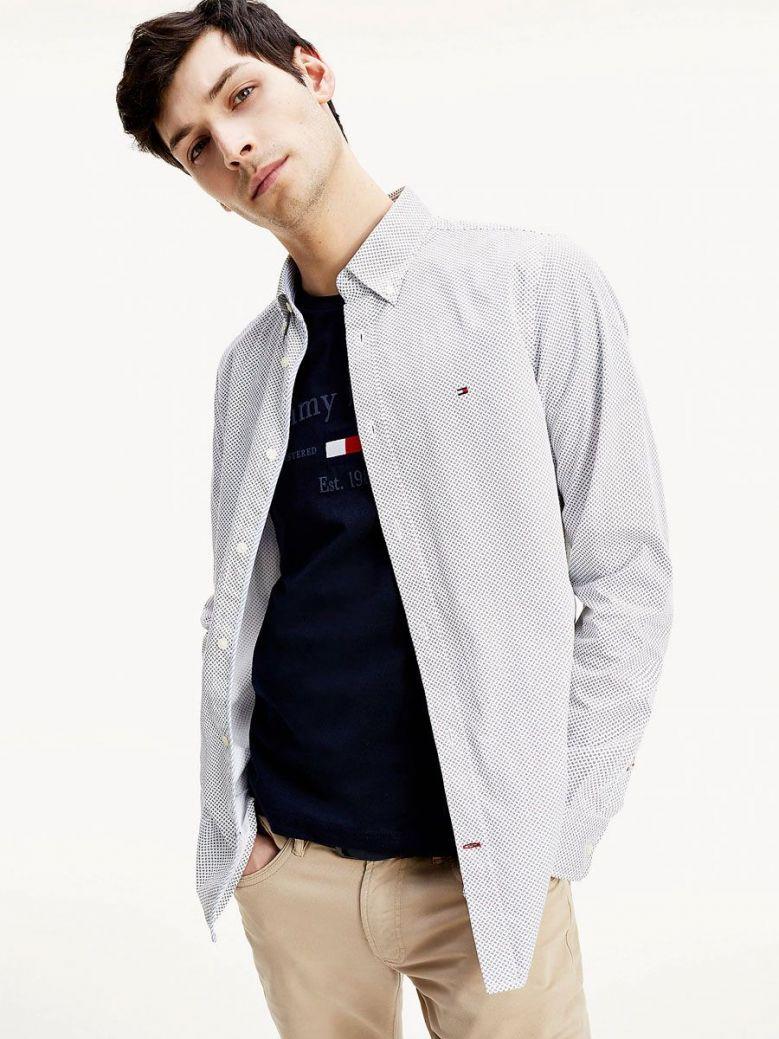 Tommy Hilfiger Mens White Carbon Navy Micro Print Slim Fit Shirt