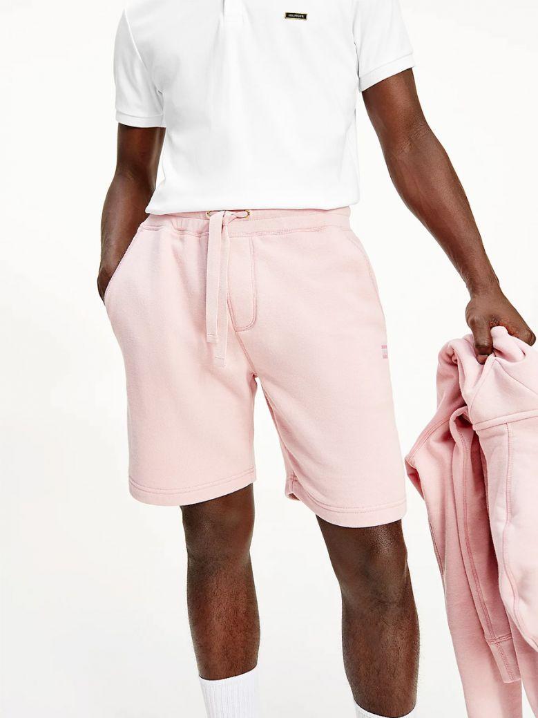 Tommy Hilfiger Men Glacier Pink Tonal Flag Sweat Shorts