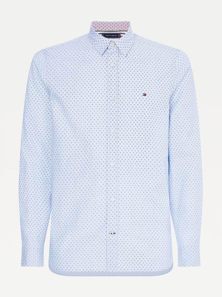 Tommy Hilfiger Men Copenhagen Blue Micro Square Print Slim Fit Shirt